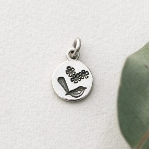 Sterling silver small round wren & Geraldton wax pendant