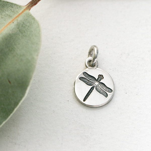 Sterling silver small round dragonfly pendant