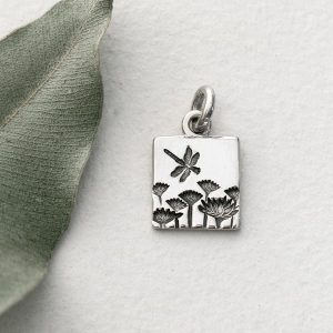 Sterling silver small square dragon fly & everlasting pendant