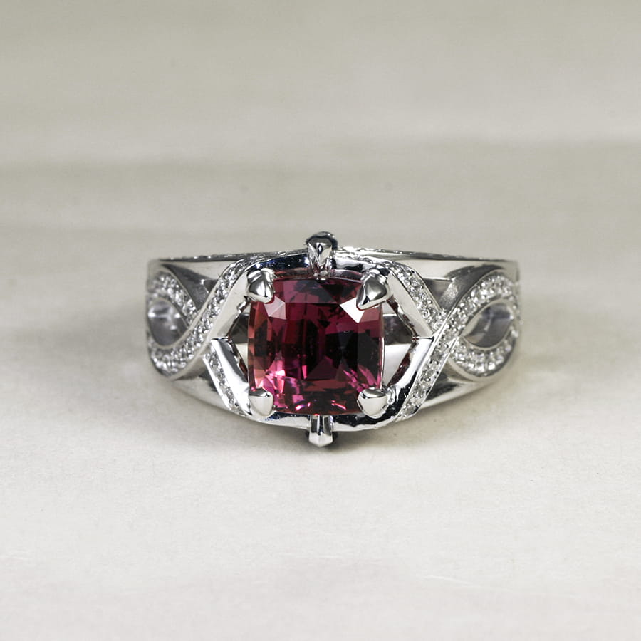'Raspberry Wine' 18ct white gold ring with 1 pink sapphire 2 royal blue marquise sapphires diamonds handcrafted john miller design