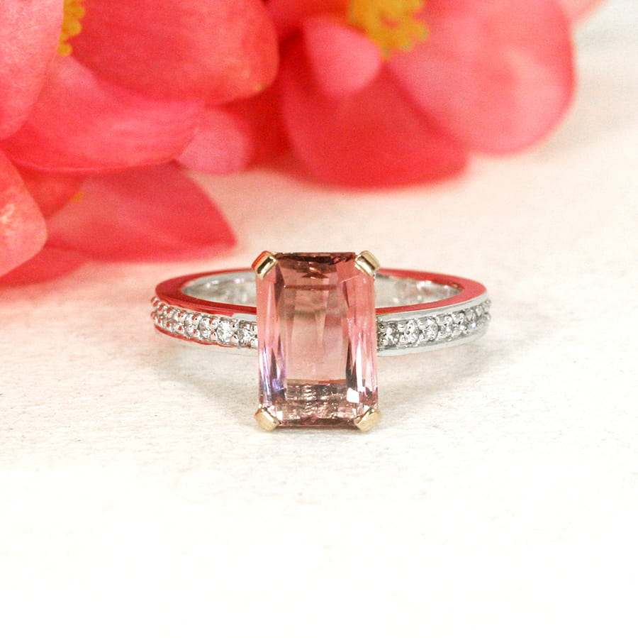 'Rose' 18ct rose and white gold handcrafted ring with pink tourmaline and 16 diamonds