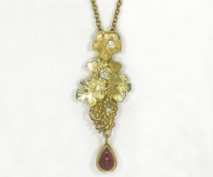 'A Very Fine Drop' 18ct yellow gold pendant 1.2ct Burma Ruby 3 diamonds