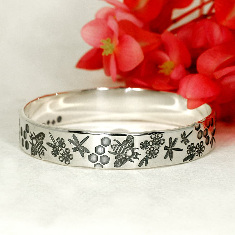 Bees and Dragonflies sterling silver handcrafted bangle
