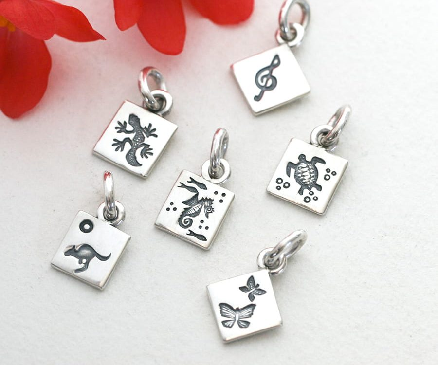 Sterling Silver Charm Pendants handcrafted various shapes