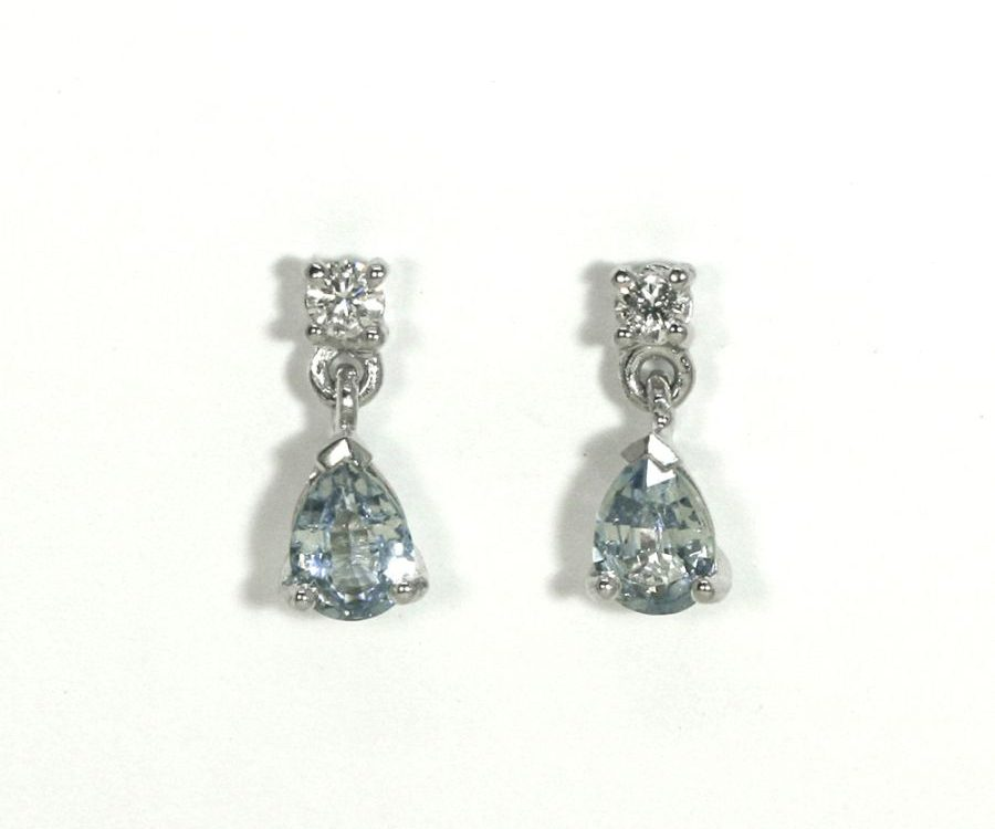 'Dew Drops' 18ct white gold earrings with pear shaped light blue ceylon sapphires and round diamonds