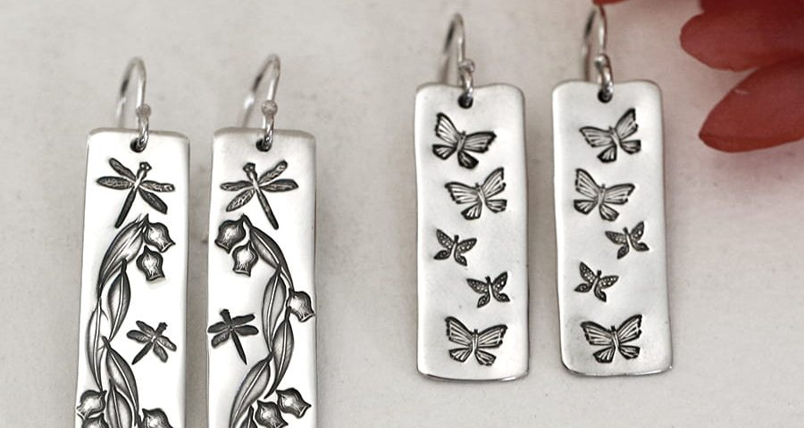 rectangular shaped sterling silver handcrafted earrings garden design