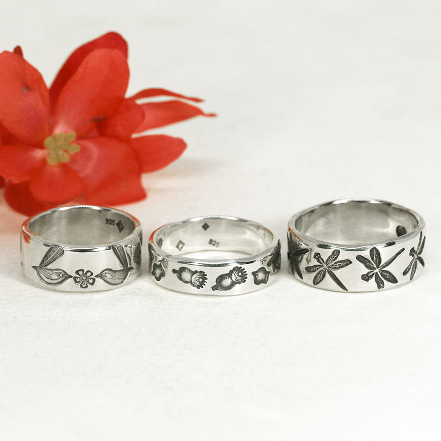 garden design sterling silver handcrafted rings