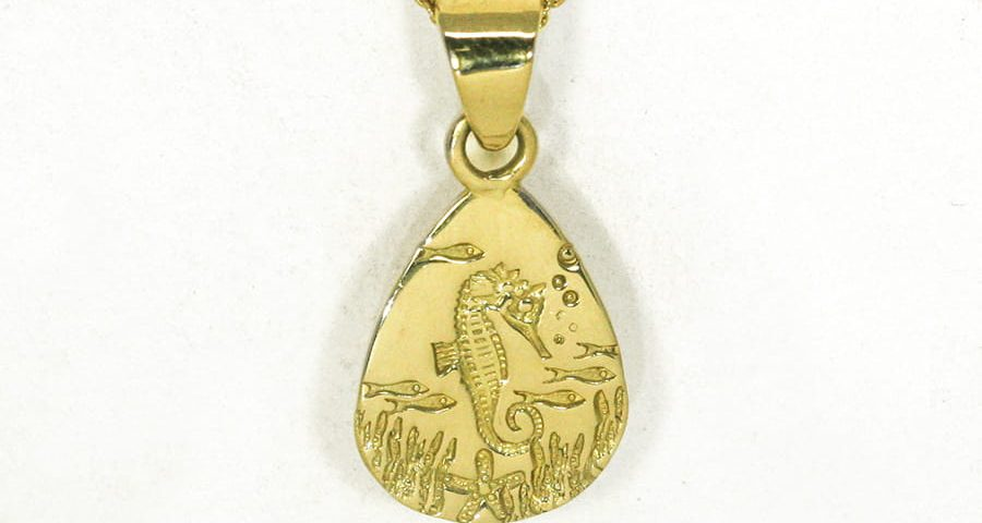 Underwater Seahorse 18ct yellow gold teardrop pendant handcrafted john miller design
