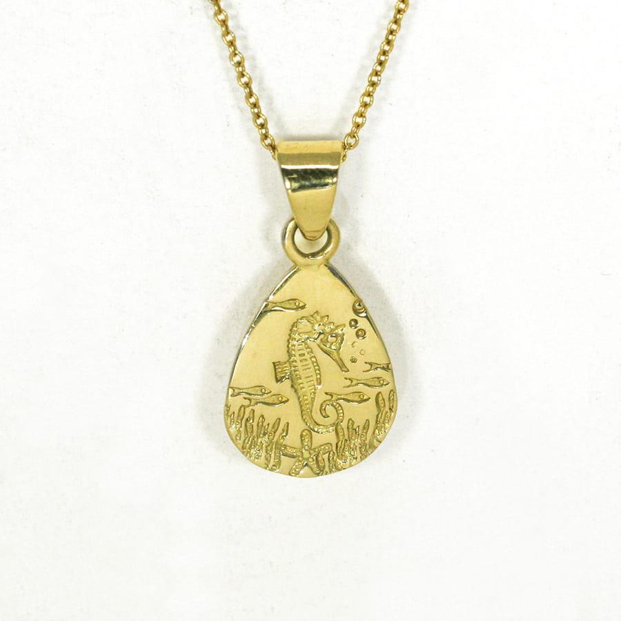 Underwater Seahorse 18ct yellow gold teardrop pendant handcrafted john miller design