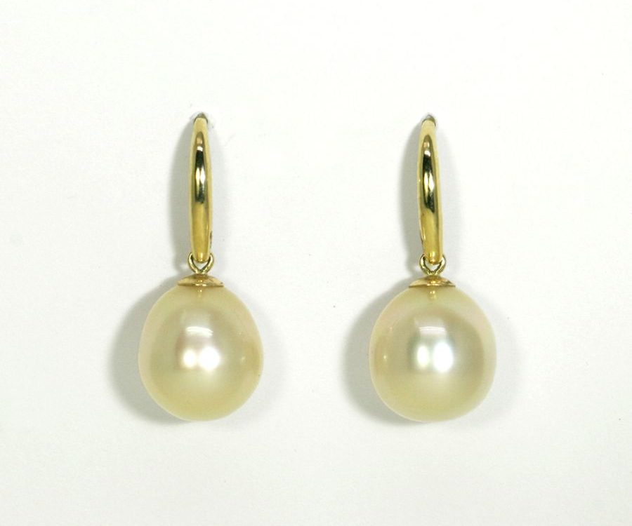 Golden South Sea Pearl drop earrings 9ct yellow gold
