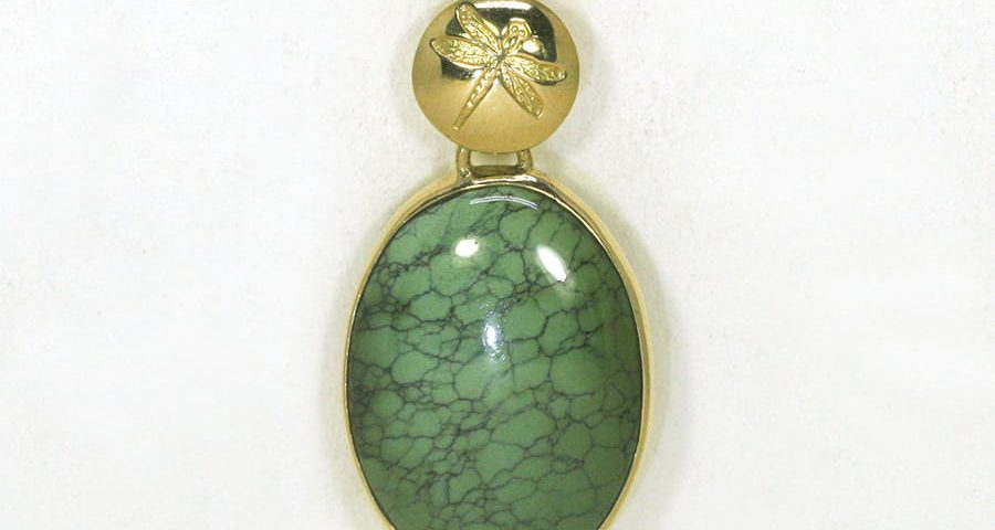 'Rainforest' Natural Tibetan Turquoise 18ct yellow gold pendant handcrafted