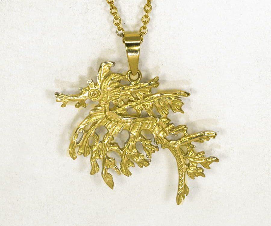 Leafy Seadragon 18ct yellow gold pendant john miller design