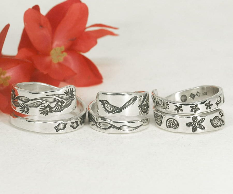assorted designed spiral rings sterling silver handcrafted john miller design