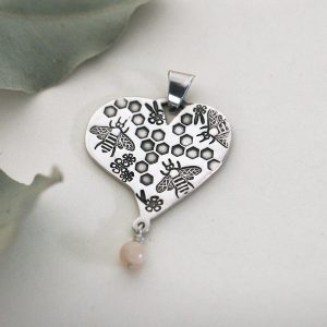 Bee Themed Heart Pendant