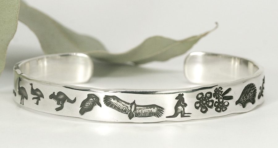 Aussie Icons sterling silver cuff with Australian flora and fauna