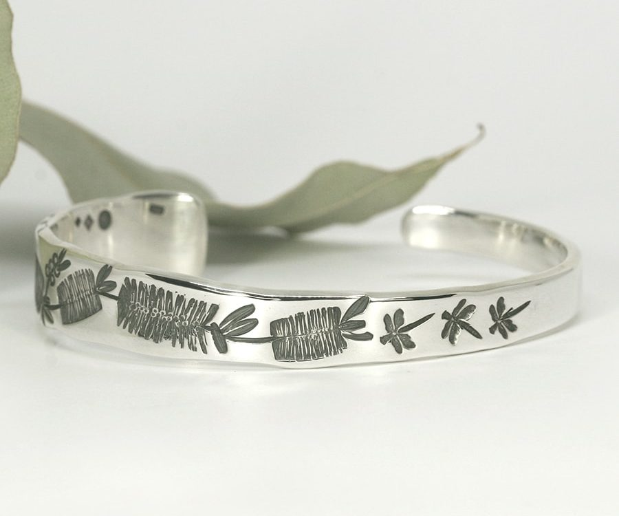 Bottle brush and Dragonflies sterling silver tapered cuff