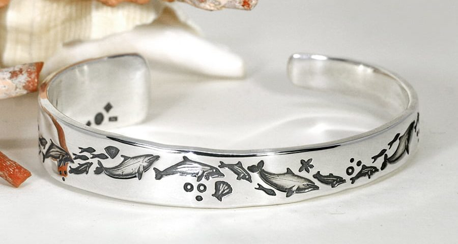 'A Dolphins Journey' sterling silver tapered cuff john miller design