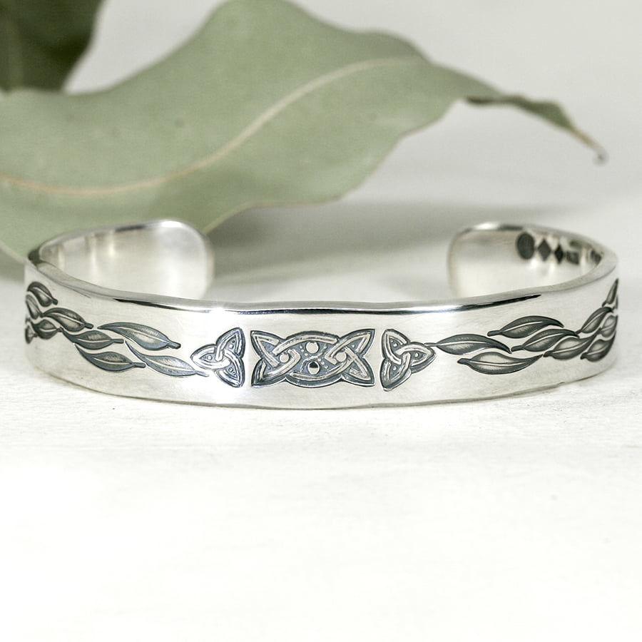 'Australian Celtic' sterling silver cuff featuring celtic knot and gumleaves john miller design