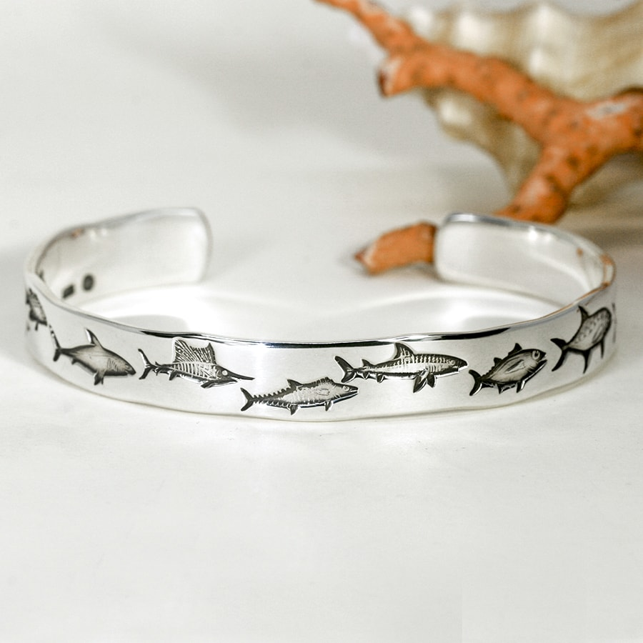 'Game Fishing' sterling silver cuff john miller design