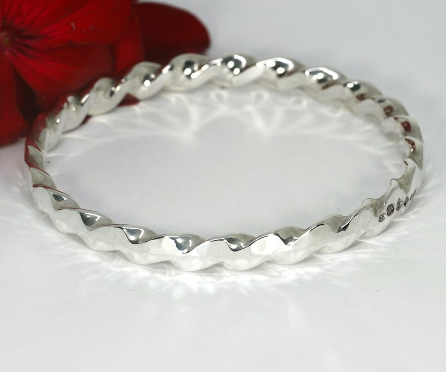 'Hammerbeat with a Twist' sterling silver handcrafted bangle john miller design