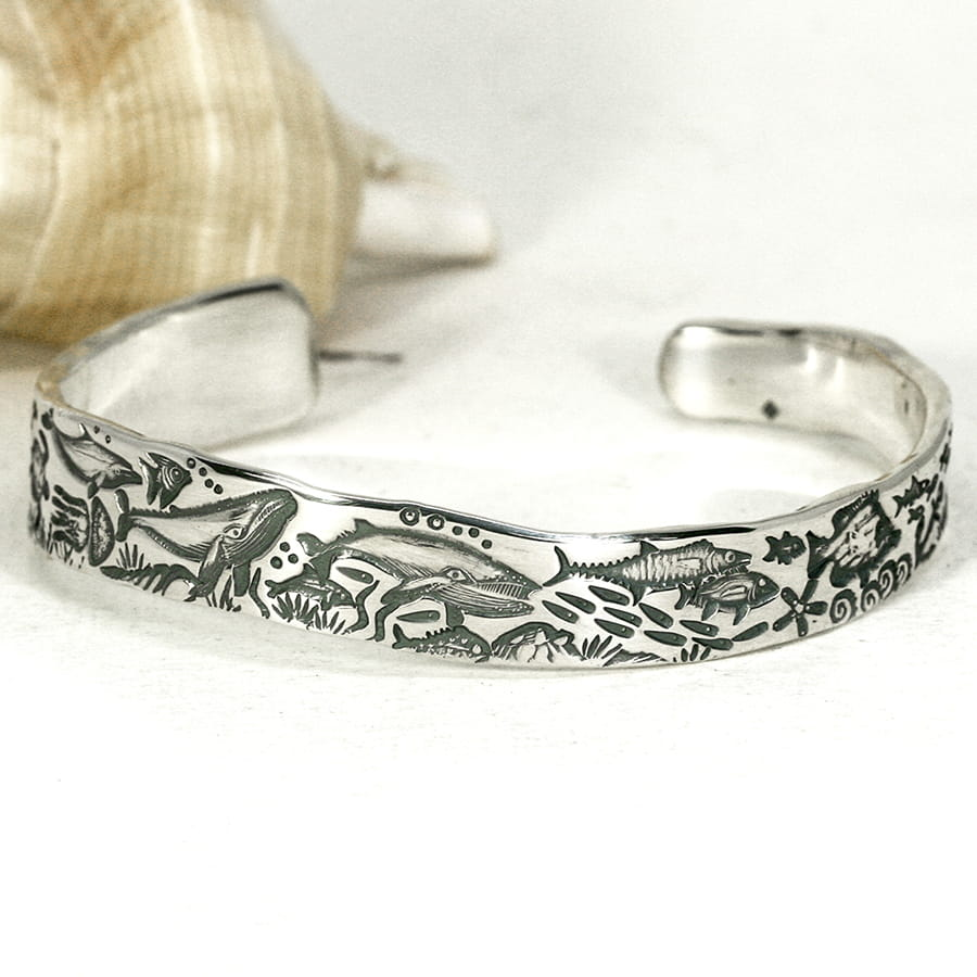 'Underwater Wave' sterling silver tapered cuff with a wavey profile john miller design