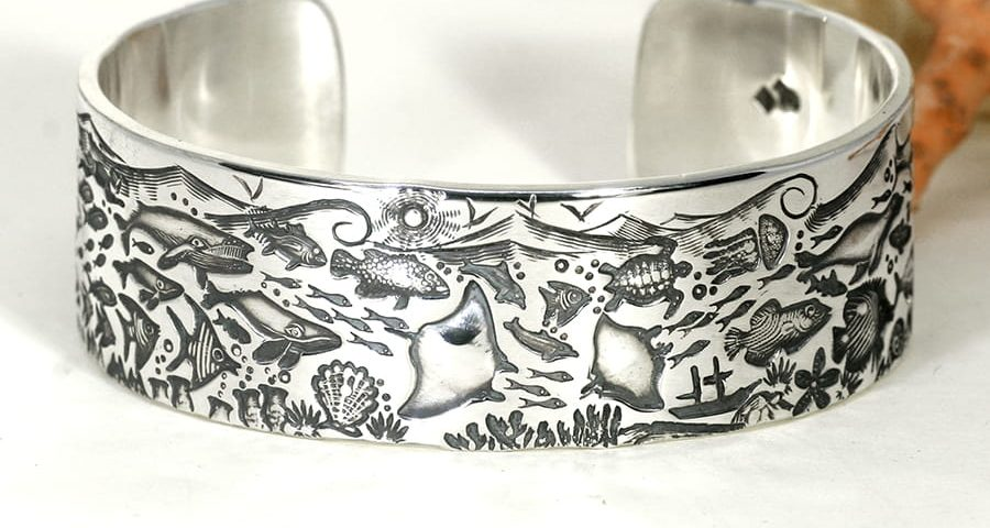 'Beneath the Waves' sterling silver wide Ocean story cuff