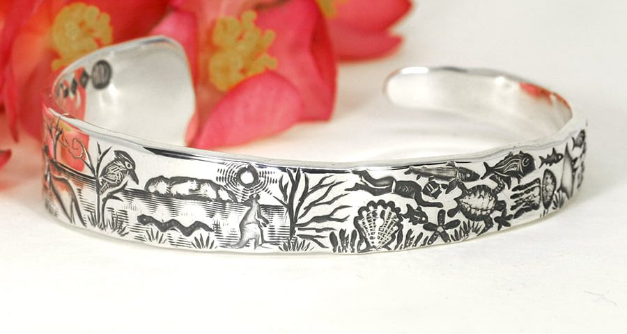 'Outback to Ocean Taper' sterling silver tapered cuff john miller design