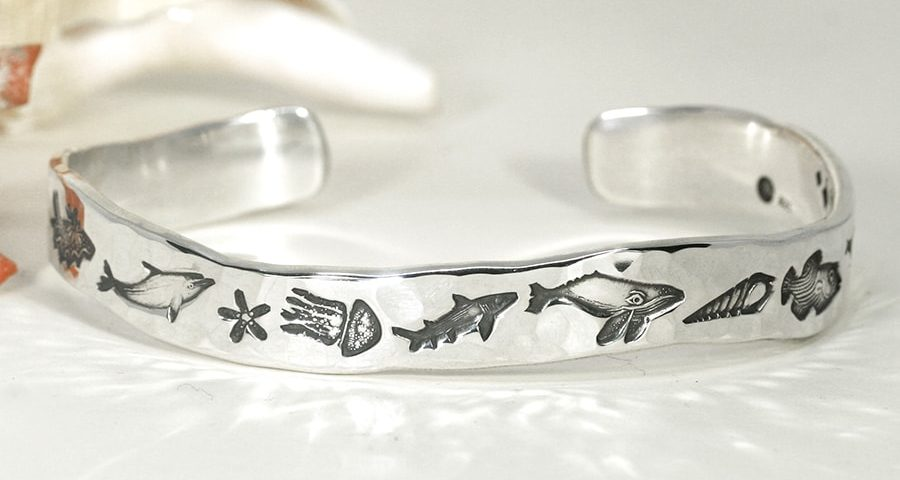 'Sealife' sterling silver wavey profile cuff with hammer beat finish john miller design