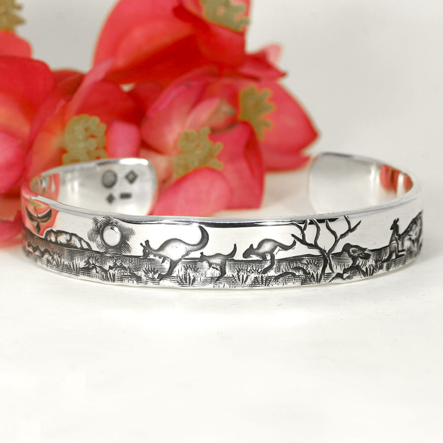'Simple Outback Story' sterling silver cuff john miller design