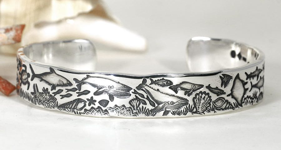'Underwater Story' sterling silver cuff john miller design