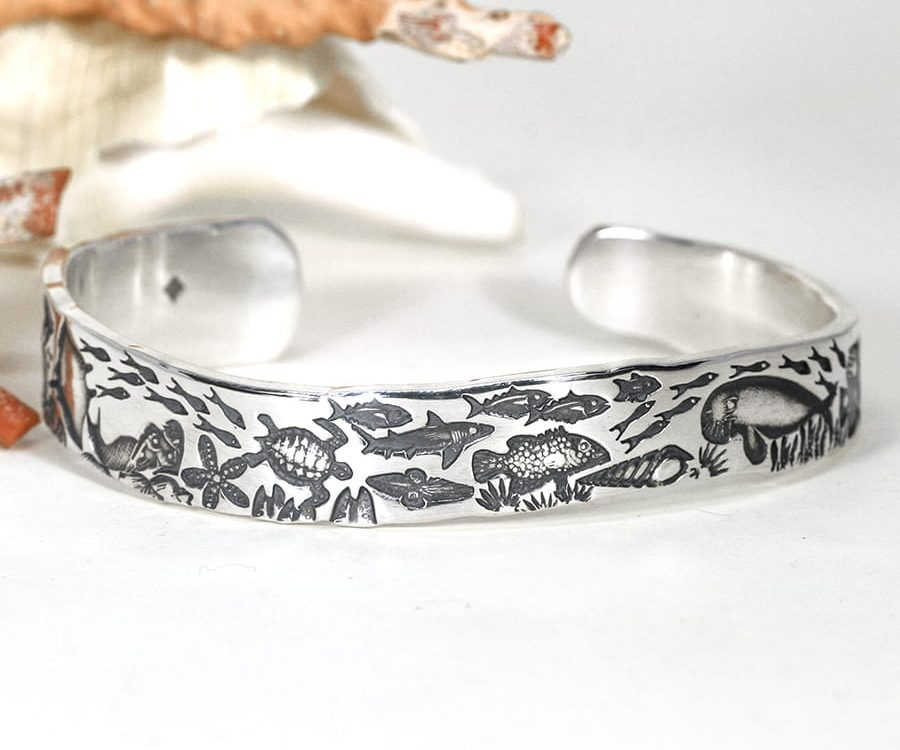 'Underwater World' sterling silver wavey profile cuff john miller design