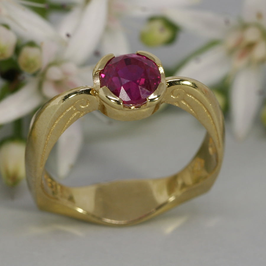 'Angel Heart' 18ct yellow gold set with 1.29ct burma ruby john miller design