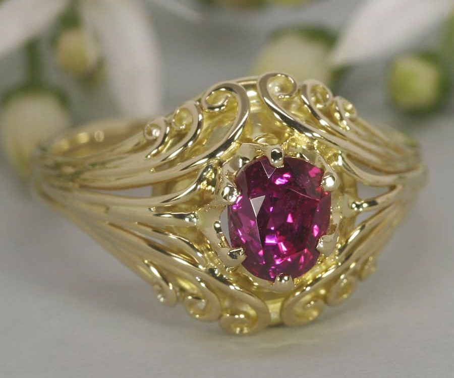 'Gypsy Heart' 18ct yellow gold ring set with 1.2ct oval Burma Ruby john miller design
