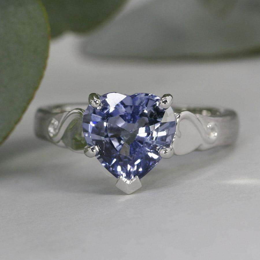'Kokoro' Platinum ring set with 3.28ct Blue Heart Sapphire john miller design