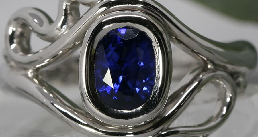 'Sonata' 18ct white gold ring set with 1.62ct ceylon sapphire john miller design