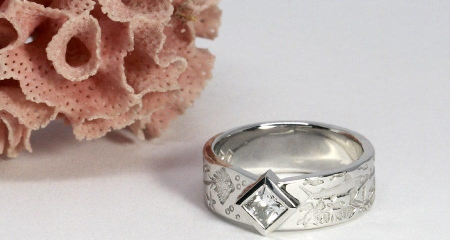 'Atlantis' 18ct White gold 0.35ct EVS2 princess cut diamond Ocean theme