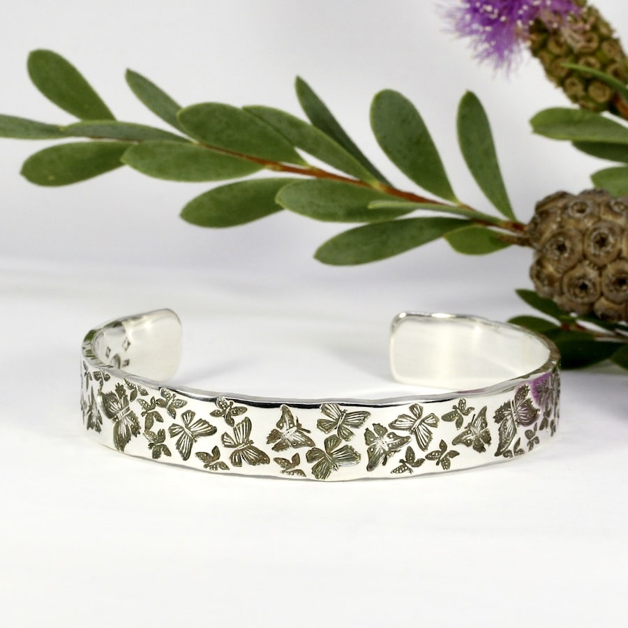 Butterfly Garden sterling silver handcrafted cuff