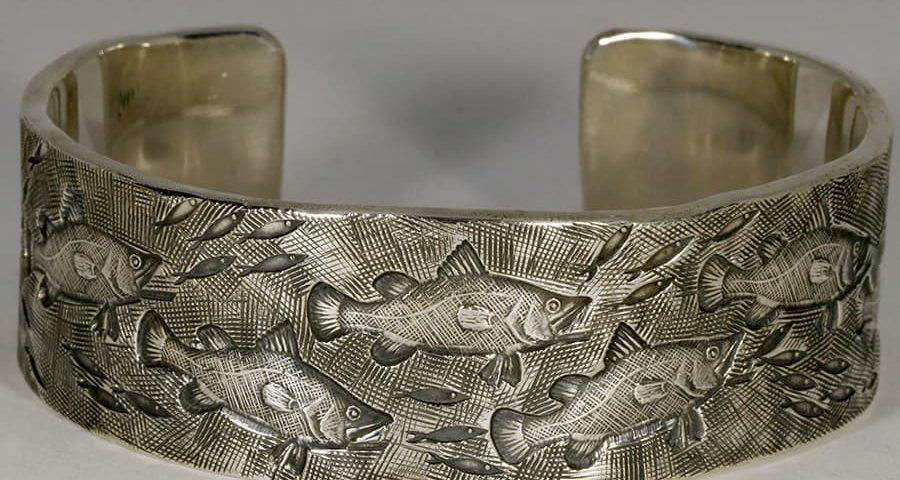 'Day of the Barramundi' sterling silver wide cuff florentine finish